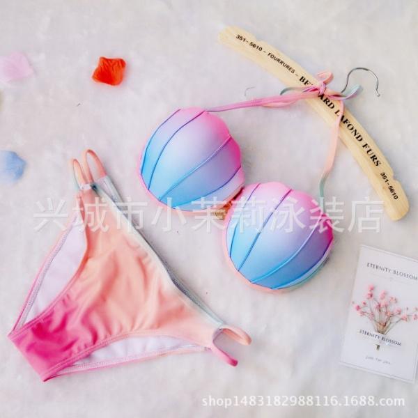 Европа и америка качественный импортный товар русалки bikini плавание наряд постепенное изменение цвет оболочка диски бикини мисс купальный костюм
