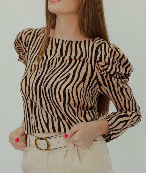 Большой двор зебра цвет hit пузырь рукавов рубашка женщина весна 2021 новый свободный значительно тоньше хеджирование куртка волна