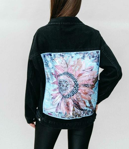 Назад печать алмаз участок ковбой пальто женщина 2021 весна новый корейский свободный мода отверстие жир MM куртка