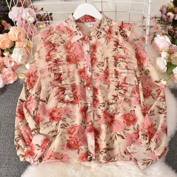 Цветочная шифоновая рубашка женская 2021 новая модель весна ретро порт вкус сладкий дизайн смысл кривляние марля шифон куртка