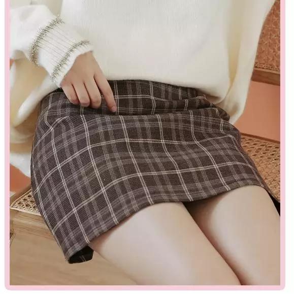 Шерстяной сетка юбка женщина 2020 новинка зимний осеннний дикий a слово юбка талия тонкий крышка Промежность упаковать низ юбка