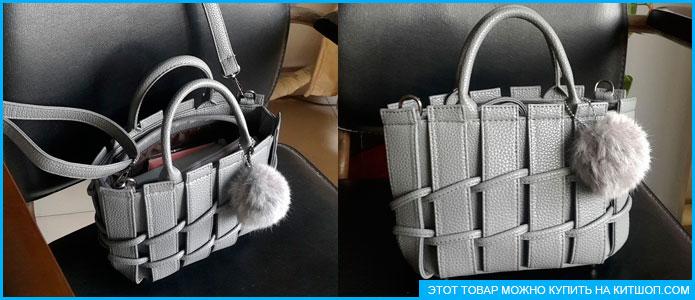 Отзывы о китайских товара — серая сумка с плетеными элементами